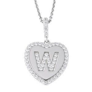 Letter W Initial Heart CZ Pendant Sterling Silver